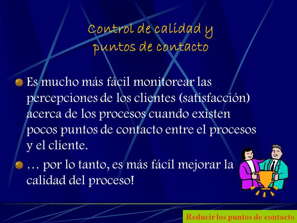 25 Control de calidad y puntos de contacto Es mucho más fácil monitorear las percepciones de los clientes (satisfacción) acerca de los procesos cuando existen pocos puntos de contacto entre el procesos y el cliente.