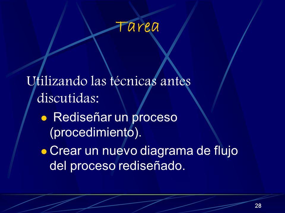 28 Tarea Utilizando las técnicas antes discutidas: Rediseñar un proceso (procedimiento).