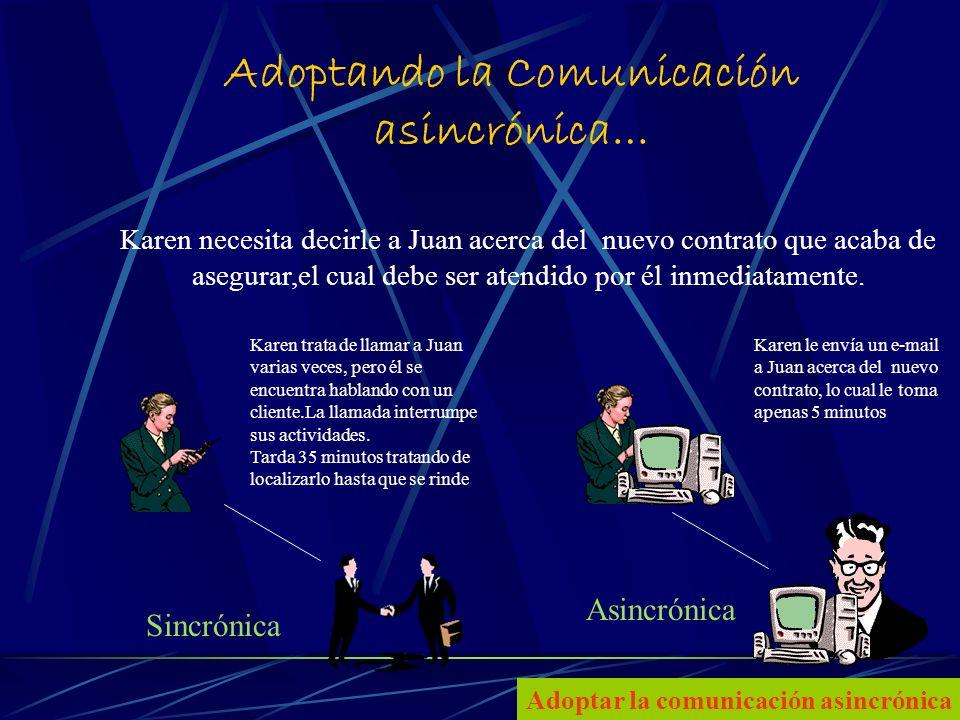 7 Adoptando la Comunicación asincrónica… Karen necesita decirle a Juan acerca del nuevo contrato que acaba de asegurar,el cual debe ser atendido por él inmediatamente.