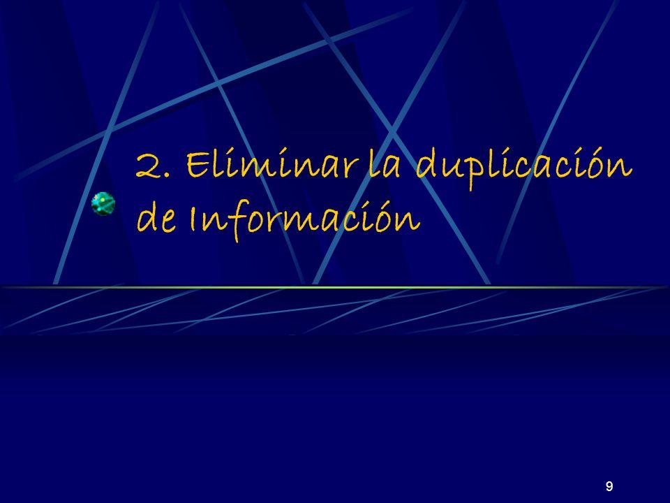 9 2. Eliminar la duplicación de Información