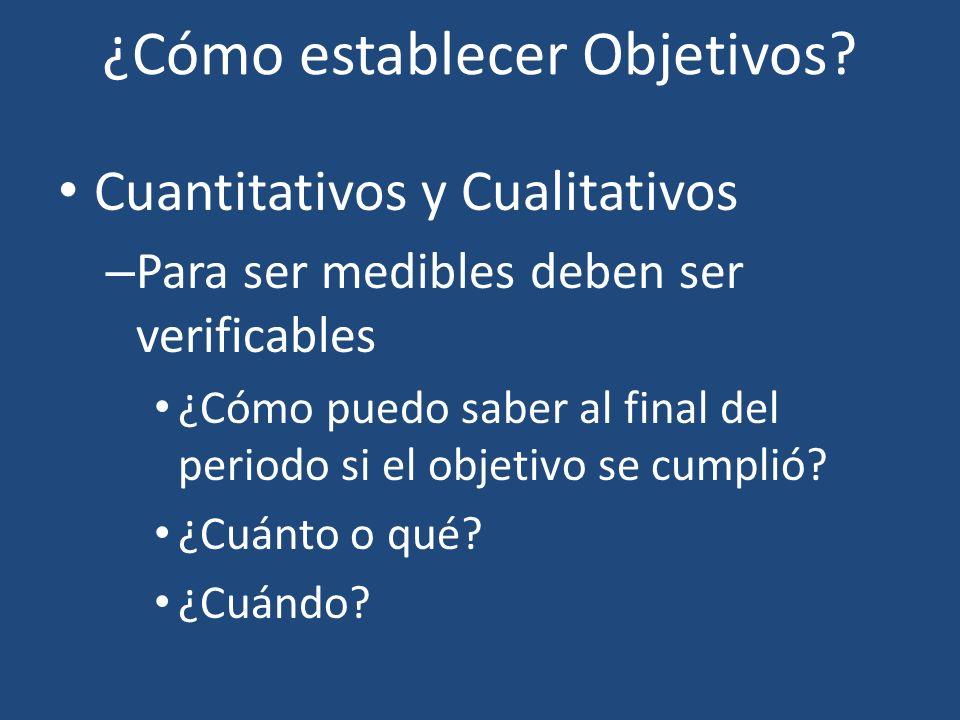 ¿Cómo establecer Objetivos? Cuantitativos y Cualitativos – Para ser medibles deben ser verificables ¿Cómo puedo saber al final del periodo si el objet