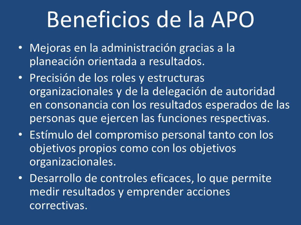Beneficios de la APO Mejoras en la administración gracias a la planeación orientada a resultados. Precisión de los roles y estructuras organizacionale