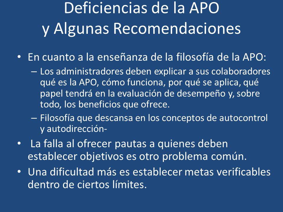 Deficiencias de la APO y Algunas Recomendaciones En cuanto a la enseñanza de la filosofía de la APO: – Los administradores deben explicar a sus colabo