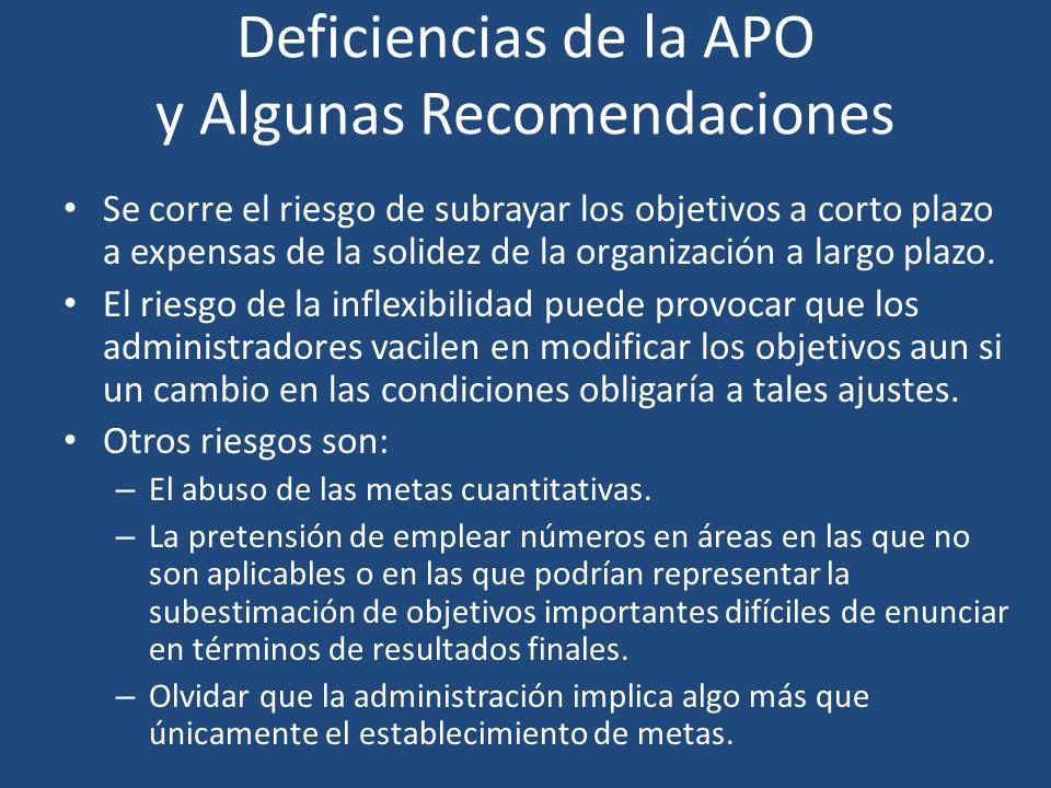 Deficiencias de la APO y Algunas Recomendaciones Se corre el riesgo de subrayar los objetivos a corto plazo a expensas de la solidez de la organizació