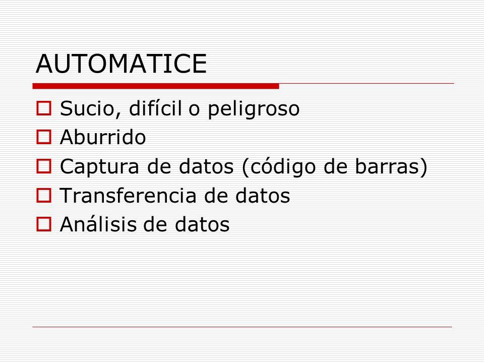AUTOMATICE Sucio, difícil o peligroso Aburrido Captura de datos (código de barras) Transferencia de datos Análisis de datos