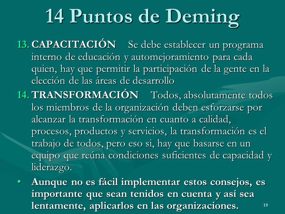 19 14 Puntos de Deming 13.CAPACITACIÓN Se debe establecer un programa interno de educación y automejoramiento para cada quien, hay que permitir la par