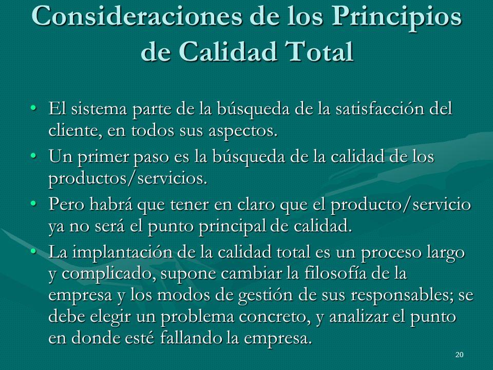 20 Consideraciones de los Principios de Calidad Total El sistema parte de la búsqueda de la satisfacción del cliente, en todos sus aspectos.El sistema