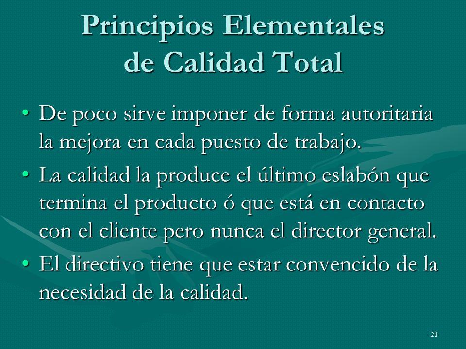 21 Principios Elementales de Calidad Total De poco sirve imponer de forma autoritaria la mejora en cada puesto de trabajo.De poco sirve imponer de for