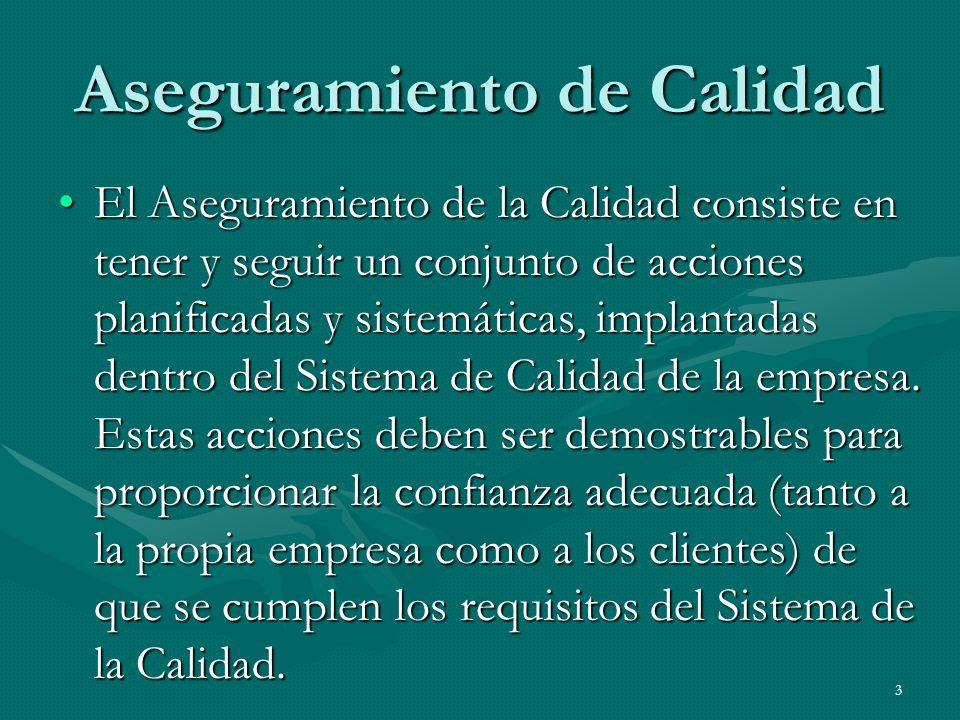 3 Aseguramiento de Calidad El Aseguramiento de la Calidad consiste en tener y seguir un conjunto de acciones planificadas y sistemáticas, implantadas