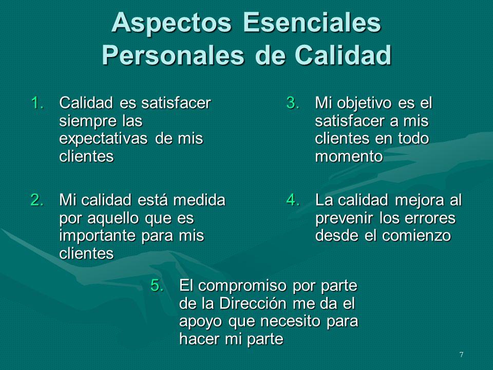 7 Aspectos Esenciales Personales de Calidad 1.Calidad es satisfacer siempre las expectativas de mis clientes 2.Mi calidad está medida por aquello que