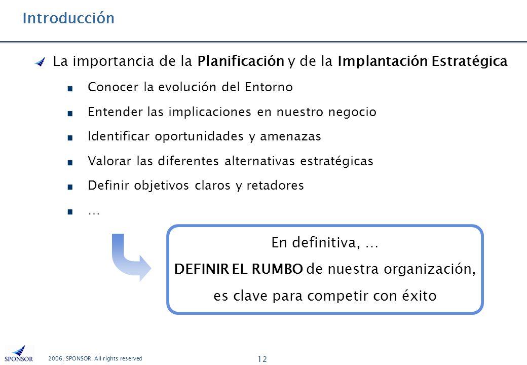 2006, SPONSOR. All rights reserved 12 Introducción La importancia de la Planificación y de la Implantación Estratégica Conocer la evolución del Entorn