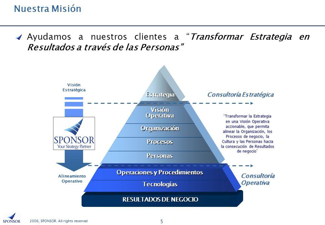 2006, SPONSOR. All rights reserved 5 Nuestra Misión Ayudamos a nuestros clientes a Transformar Estrategia en Resultados a través de las Personas Visió