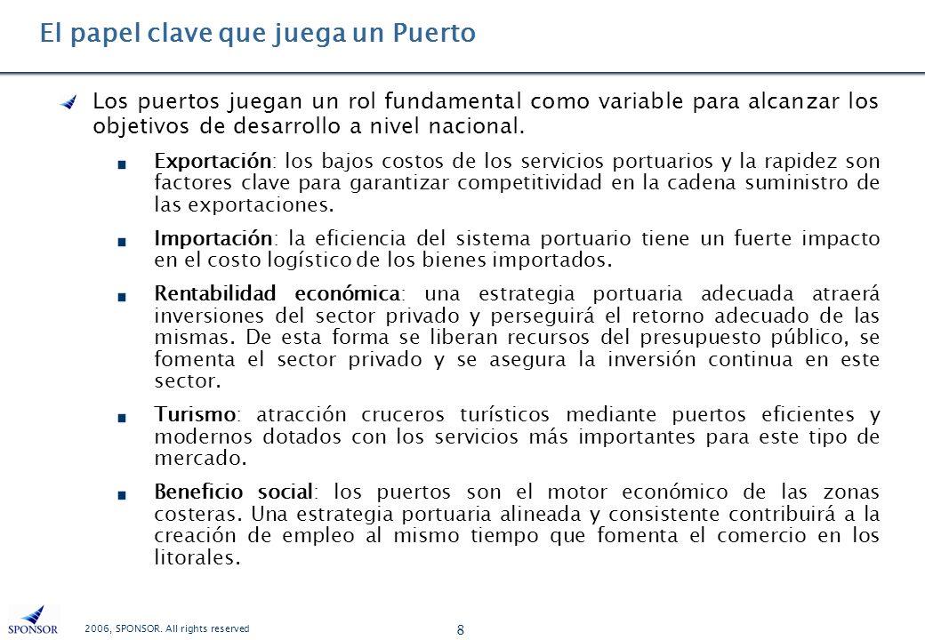 2006, SPONSOR. All rights reserved 8 El papel clave que juega un Puerto Los puertos juegan un rol fundamental como variable para alcanzar los objetivo