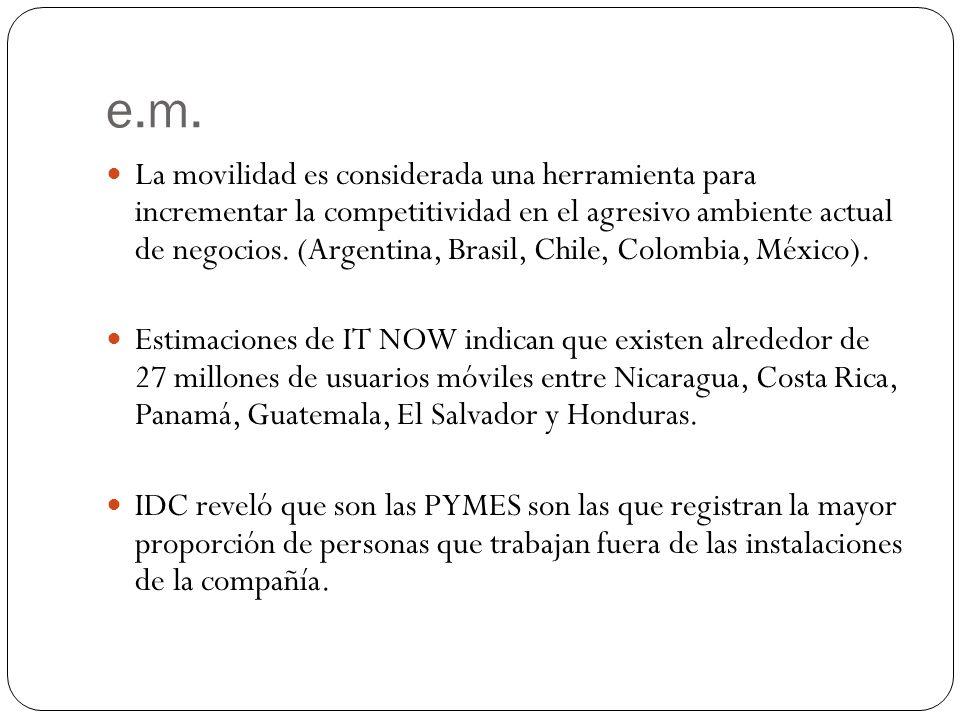 e.m. La movilidad es considerada una herramienta para incrementar la competitividad en el agresivo ambiente actual de negocios. (Argentina, Brasil, Ch