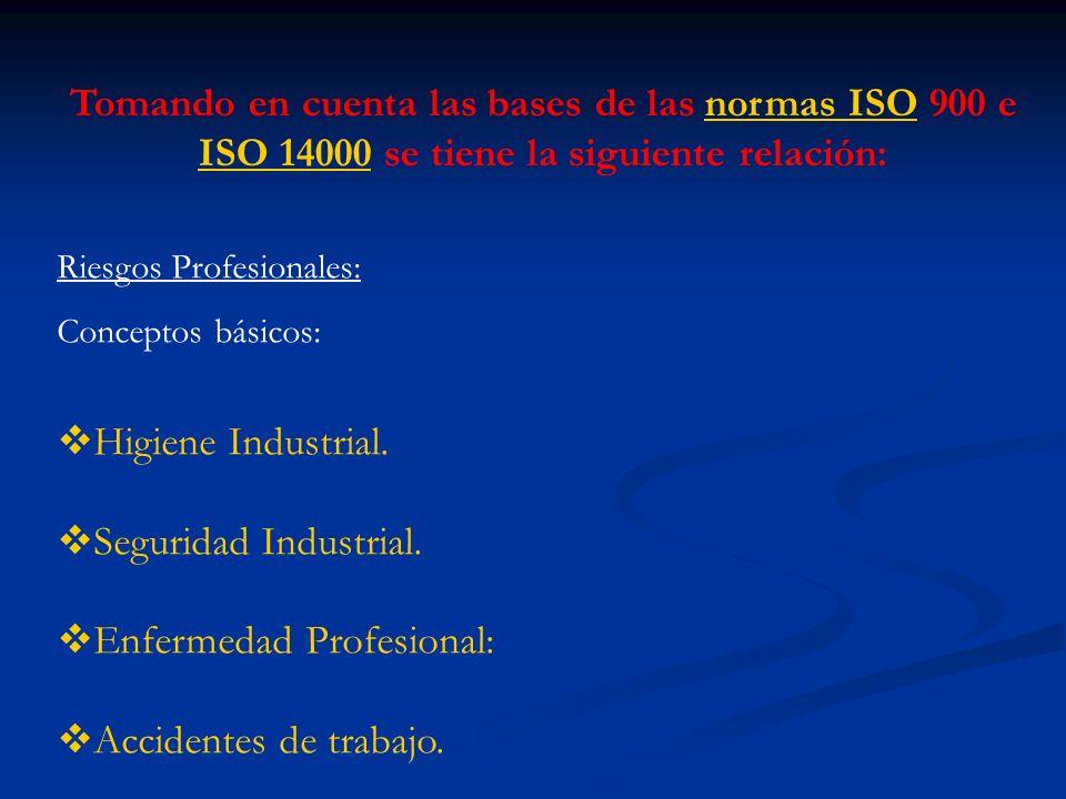 Tomando en cuenta las bases de las normas ISO 900 e ISO 14000 se tiene la siguiente relación:normas ISO ISO 14000 Riesgos Profesionales: Conceptos bás