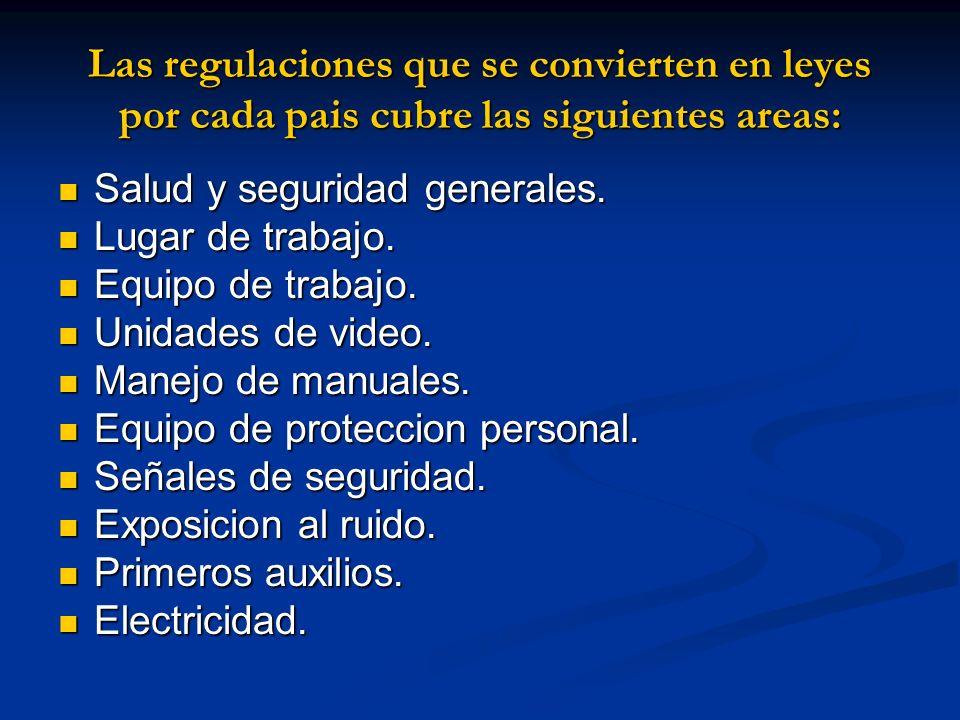 Las regulaciones que se convierten en leyes por cada pais cubre las siguientes areas: Salud y seguridad generales. Salud y seguridad generales. Lugar