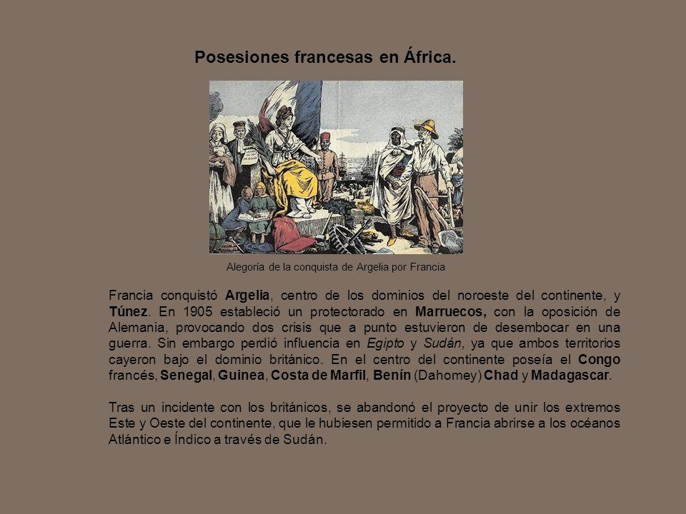 Francia conquistó Argelia, centro de los dominios del noroeste del continente, y Túnez. En 1905 estableció un protectorado en Marruecos, con la oposic