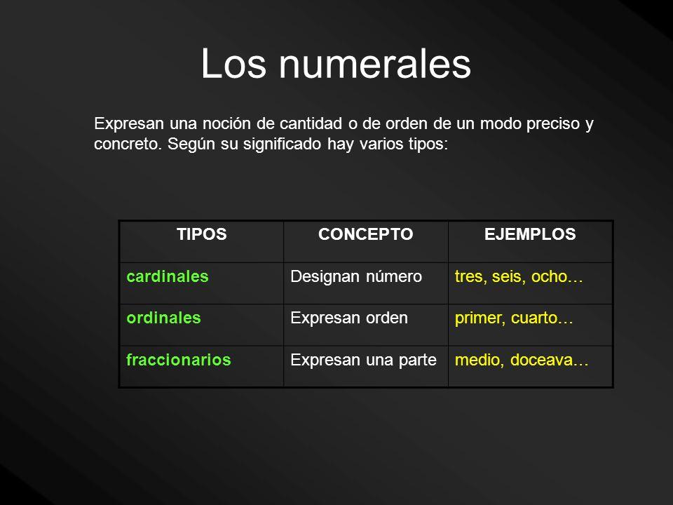Los numerales Expresan una noción de cantidad o de orden de un modo preciso y concreto. Según su significado hay varios tipos: TIPOSCONCEPTOEJEMPLOS c