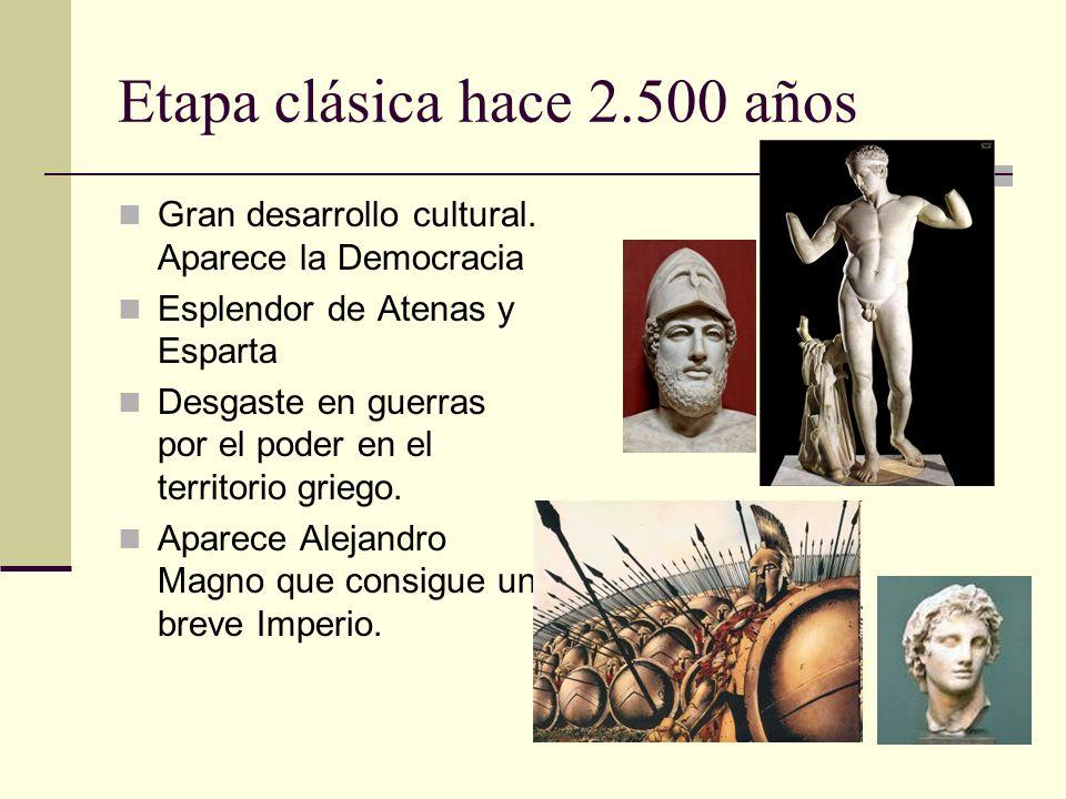 Etapa clásica hace 2.500 años Gran desarrollo cultural. Aparece la Democracia Esplendor de Atenas y Esparta Desgaste en guerras por el poder en el ter