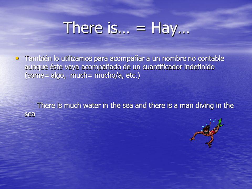 There is… = Hay… There is… = Hay… También lo utilizamos para acompañar a un nombre no contable aunque éste vaya acompañado de un cuantificador indefin