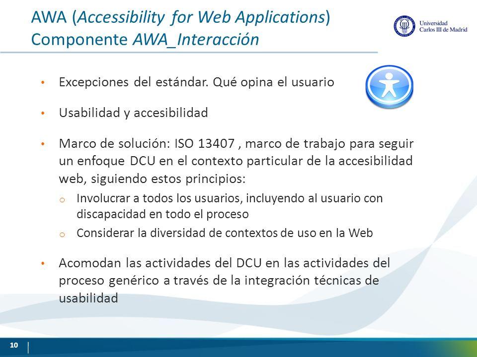 AWA (Accessibility for Web Applications) Componente AWA_Interacción Excepciones del estándar. Qué opina el usuario Usabilidad y accesibilidad Marco de