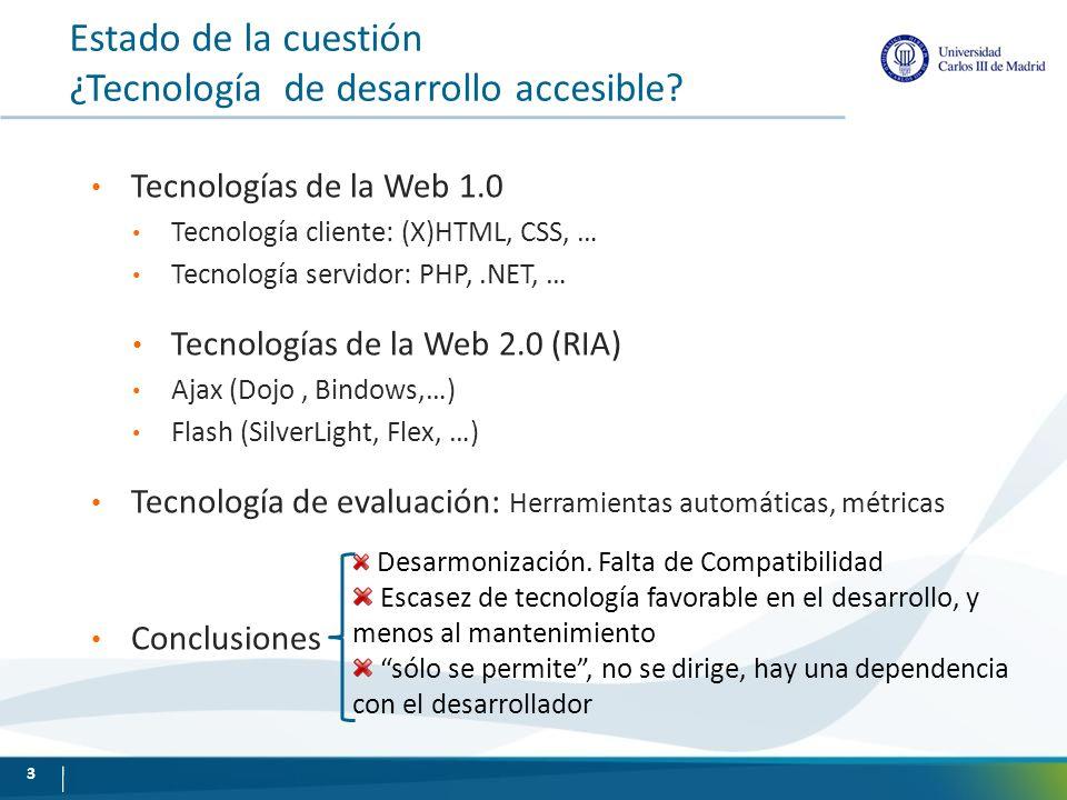 Estado de la cuestión ¿Tecnología de desarrollo accesible? Tecnologías de la Web 1.0 Tecnología cliente: (X)HTML, CSS, … Tecnología servidor: PHP,.NET