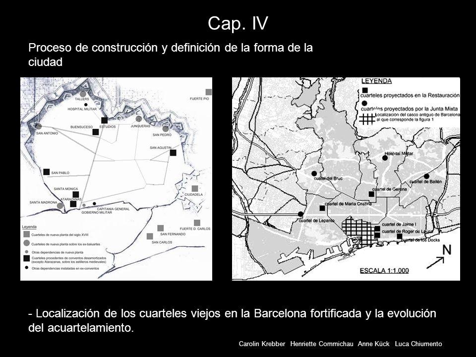 Carolin Krebber Henriette Commichau Anne Kück Luca Chiumento Cap. IV - Localización de los cuarteles viejos en la Barcelona fortificada y la evolución