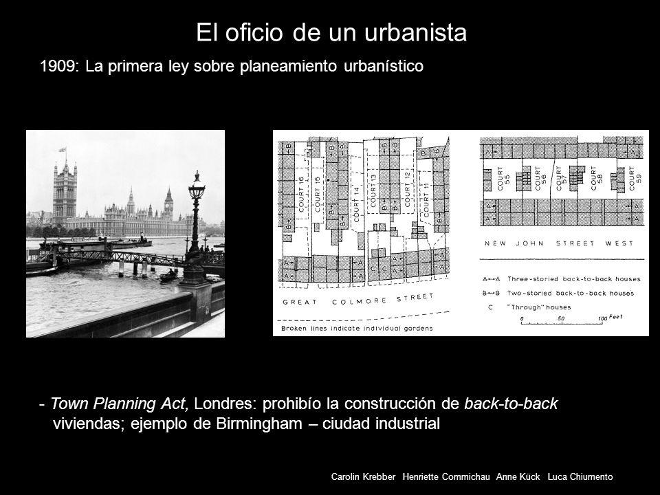 El oficio de un urbanista - Town Planning Act, Londres: prohibío la construcción de back-to-back viviendas; ejemplo de Birmingham – ciudad industrial