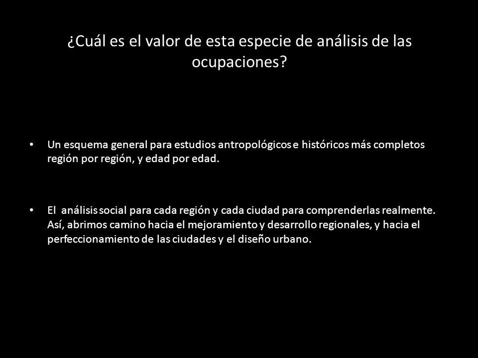 ¿Cuál es el valor de esta especie de análisis de las ocupaciones? Un esquema general para estudios antropológicos e históricos más completos región po