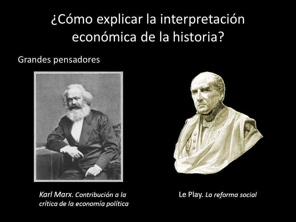¿Cómo explicar la interpretación económica de la historia? Grandes pensadores Karl Marx. Contribución a la crítica de la economía política Le Play. La
