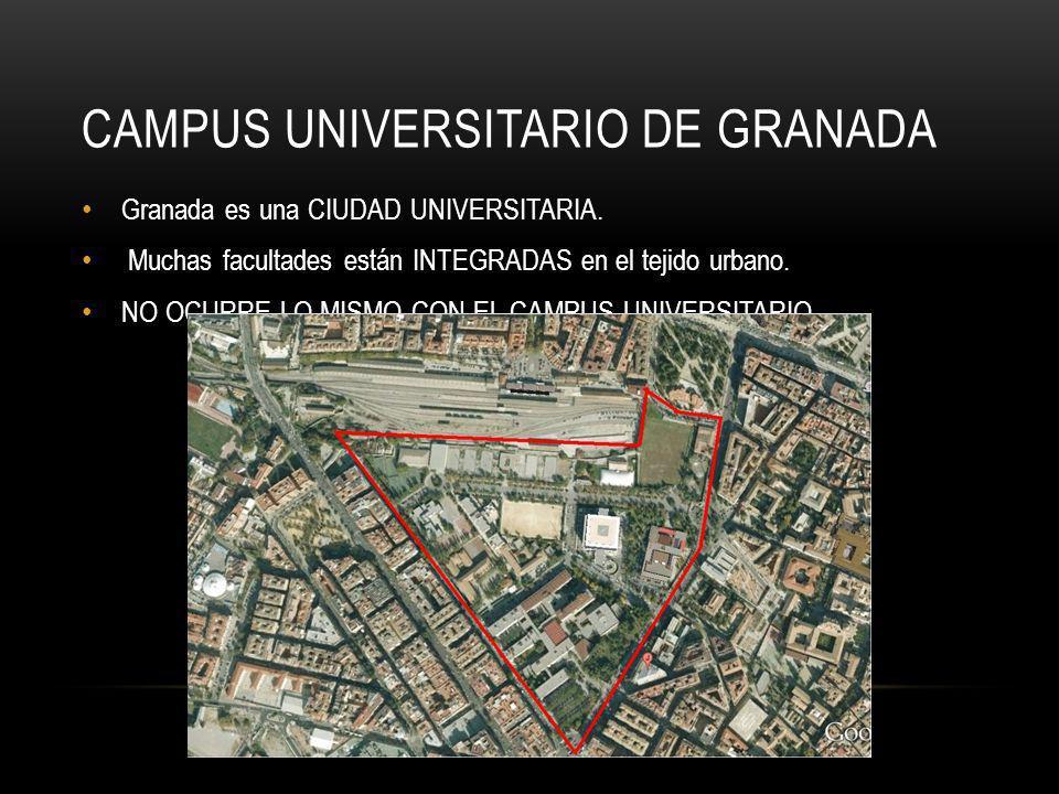CAMPUS UNIVERSITARIO DE GRANADA Granada es una CIUDAD UNIVERSITARIA. Muchas facultades están INTEGRADAS en el tejido urbano. NO OCURRE LO MISMO CON EL