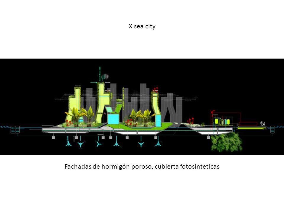 X sea city Fachadas de hormigón poroso, cubierta fotosinteticas