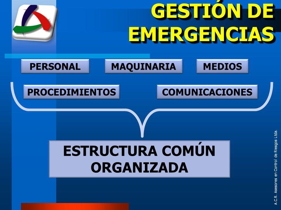 A.C.R. Asesores en Control de Riesgos Ltda. MEDIOS MAQUINARIA PERSONAL PROCEDIMIENTOS COMUNICACIONES ESTRUCTURA COMÚN ORGANIZADA GESTIÓN DE EMERGENCIA