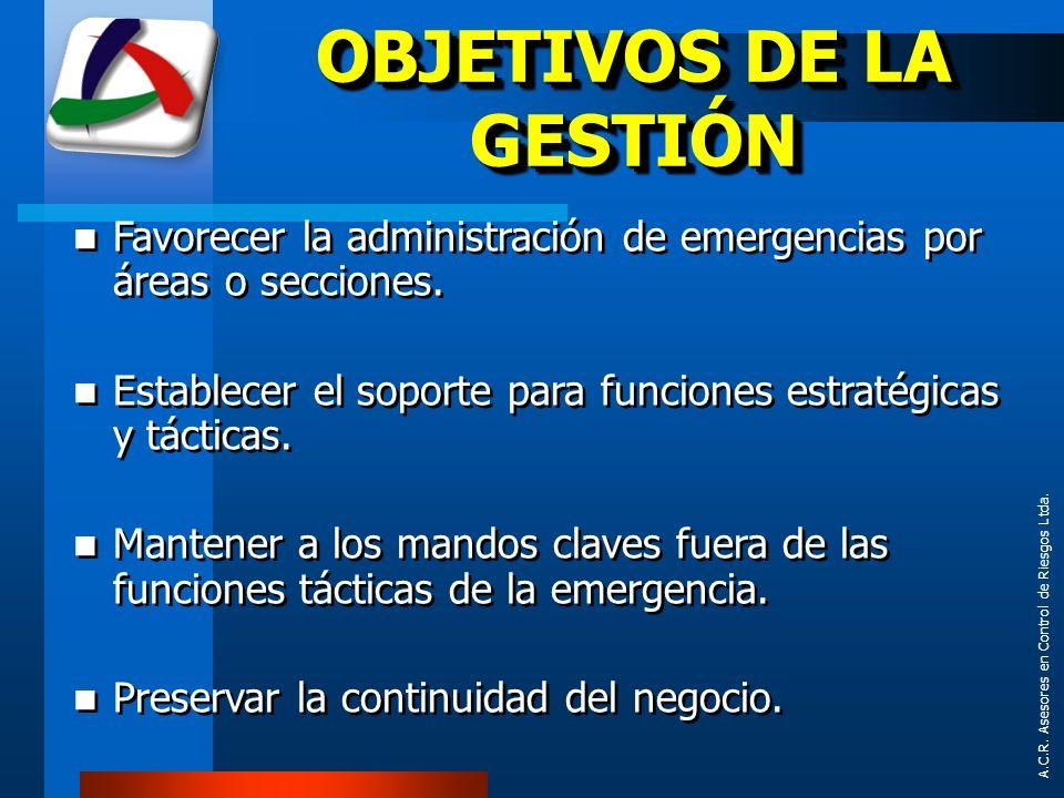 A.C.R. Asesores en Control de Riesgos Ltda. OBJETIVOS DE LA GESTIÓN Favorecer la administración de emergencias por áreas o secciones. Establecer el so