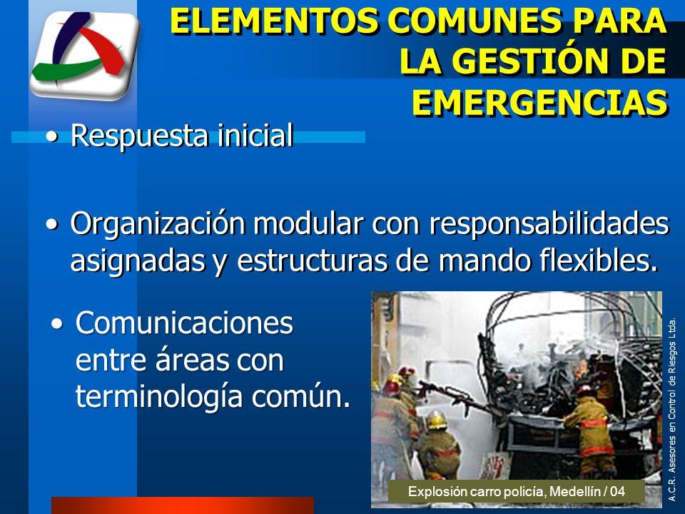 A.C.R. Asesores en Control de Riesgos Ltda. ELEMENTOS COMUNES PARA LA GESTIÓN DE EMERGENCIAS Respuesta inicial Organización modular con responsabilida