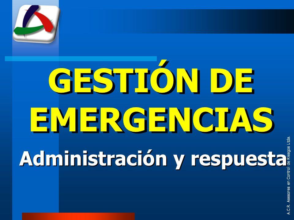A.C.R. Asesores en Control de Riesgos Ltda. PREPARATIVOS PARA EMERGENCIAS Y DESASTRES
