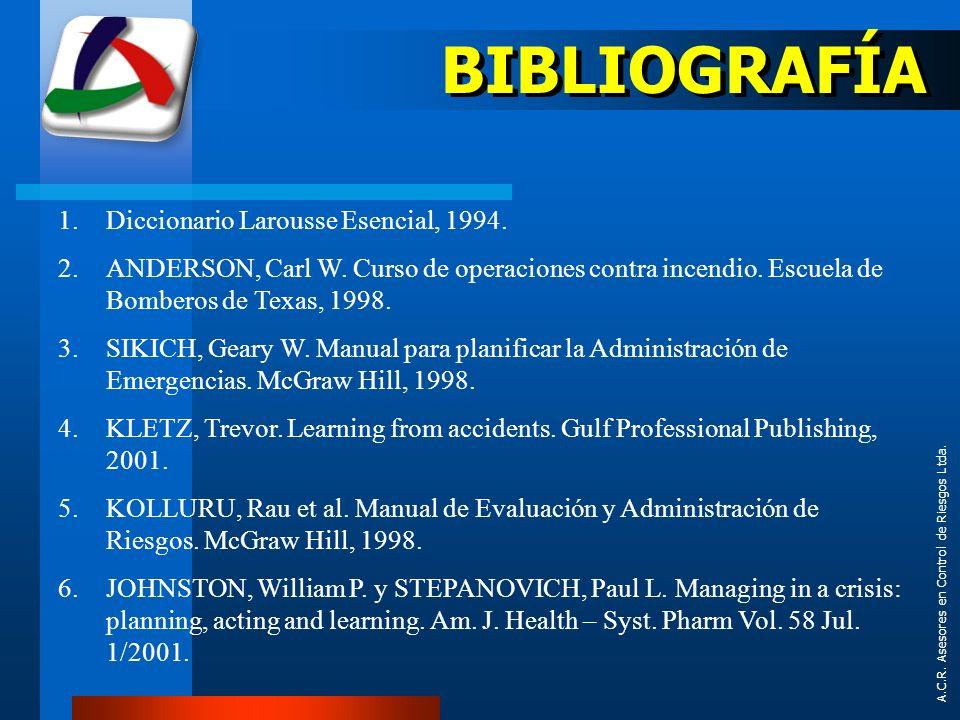 1.Diccionario Larousse Esencial, 1994. 2.ANDERSON, Carl W. Curso de operaciones contra incendio. Escuela de Bomberos de Texas, 1998. 3.SIKICH, Geary W