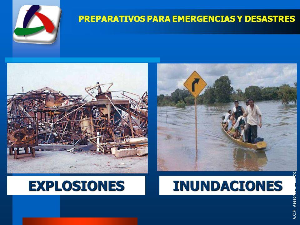 A.C.R. Asesores en Control de Riesgos Ltda. PREPARATIVOS PARA EMERGENCIAS Y DESASTRES INUNDACIONESEXPLOSIONES