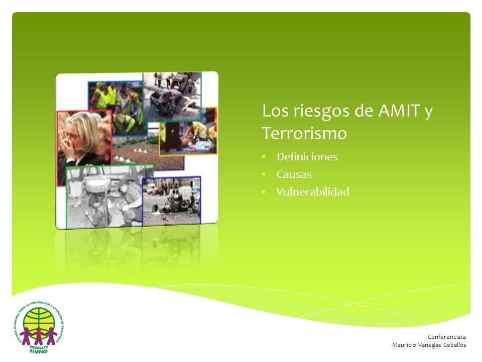 Conferencista Mauricio Vanegas Ceballos Los riesgos de AMIT y Terrorismo Definiciones Causas Vulnerabilidad