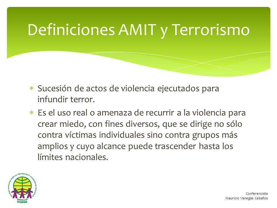 Conferencista Mauricio Vanegas Ceballos Sucesión de actos de violencia ejecutados para infundir terror. Es el uso real o amenaza de recurrir a la viol