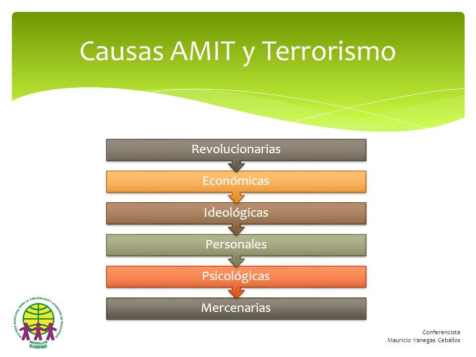 Conferencista Mauricio Vanegas Ceballos Causas AMIT y Terrorismo Mercenarias Psicológicas Personales Ideológicas Económicas Revolucionarias