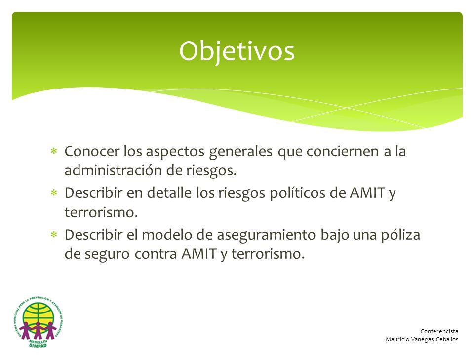 Conferencista Mauricio Vanegas Ceballos Conocer los aspectos generales que conciernen a la administración de riesgos. Describir en detalle los riesgos