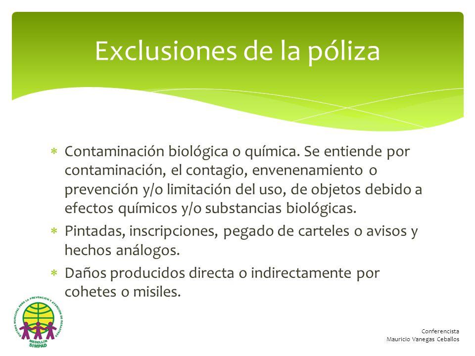 Conferencista Mauricio Vanegas Ceballos Contaminación biológica o química. Se entiende por contaminación, el contagio, envenenamiento o prevención y/o
