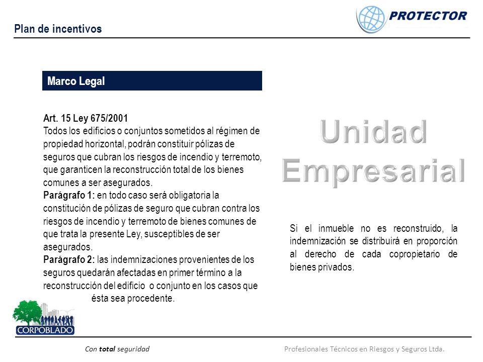 Profesionales Técnicos en Riesgos y Seguros Ltda.Con total seguridad Plan de incentivos Art. 15 Ley 675/2001 Todos los edificios o conjuntos sometidos