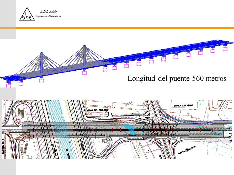 Longitud del puente 560 metros