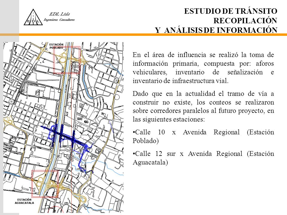ESTUDIO DE TRÁNSITO RECOPILACIÓN Y ANÁLISIS DE INFORMACIÓN En el área de influencia se realizó la toma de información primaria, compuesta por: aforos