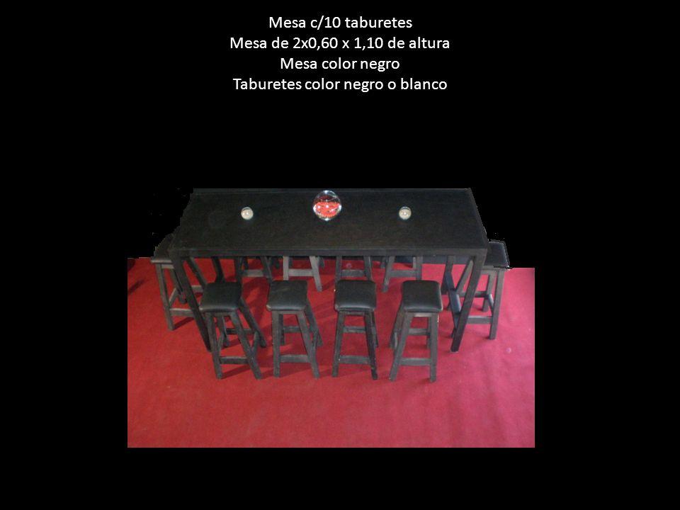 Mesa c/10 taburetes Mesa de 2x0,60 x 1,10 de altura Mesa color negro Taburetes color negro o blanco