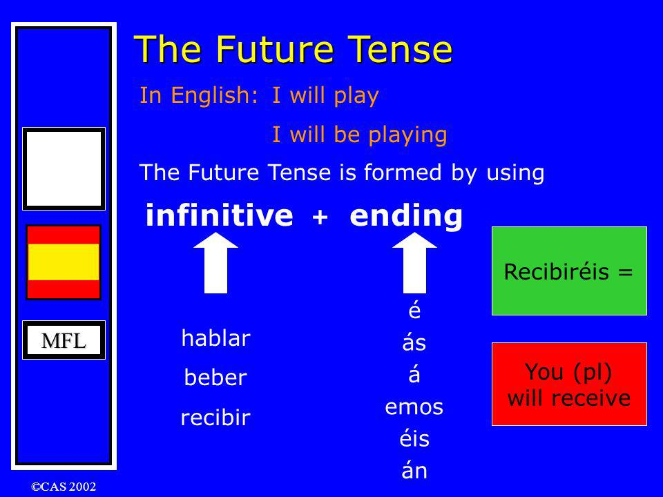 MFL The Future Tense In English: I will play I will be playing The Future Tense is formed by using infinitive + ending hablar beber recibir é ás á emos éis án Beberemos = We will drink Recibiré = I will receive Hablarán = They will speak He will drink = Beberá Hablaré = I will speak Recibiréis = You (pl) will receive