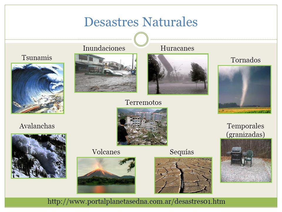 Desastres Naturales http://www.portalplanetasedna.com.ar/desastres01.htm Inundaciones Tsunamis Huracanes Tornados SequíasVolcanes AvalanchasTemporales