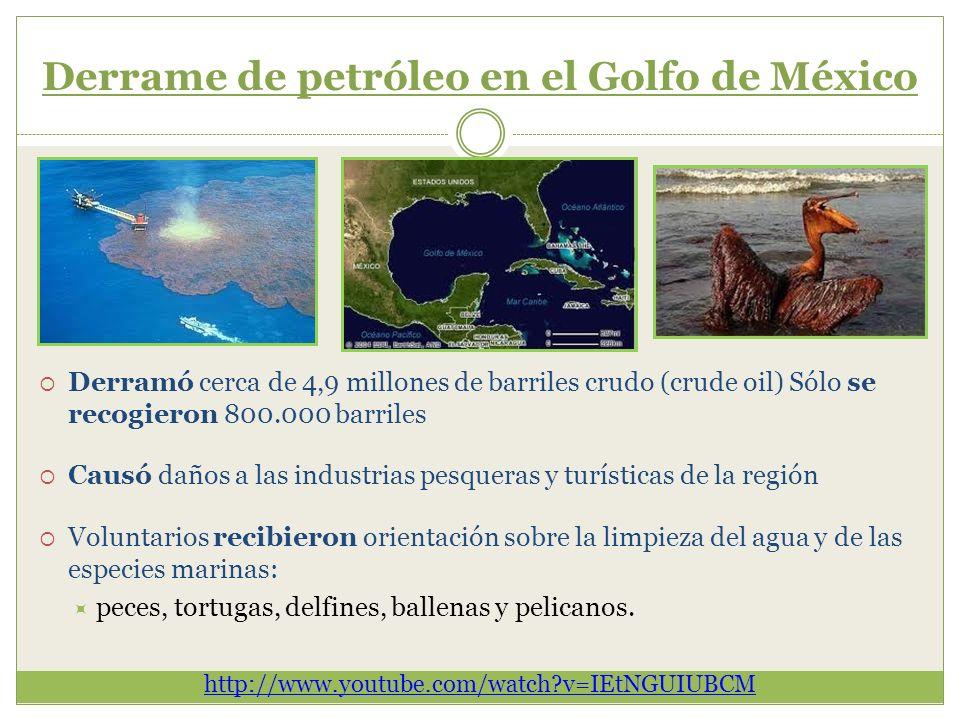Derrame de petróleo en el Golfo de México Derramó cerca de 4,9 millones de barriles crudo (crude oil) Sólo se recogieron 800.000 barriles Causó daños
